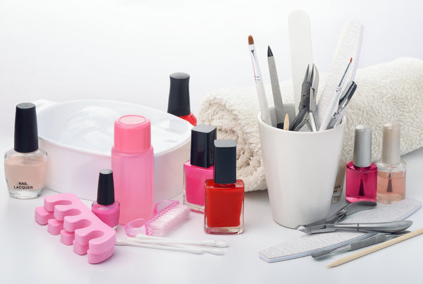Neatly displayed manicure equipment