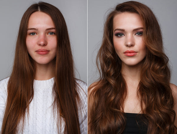 Woman before and after makeover
