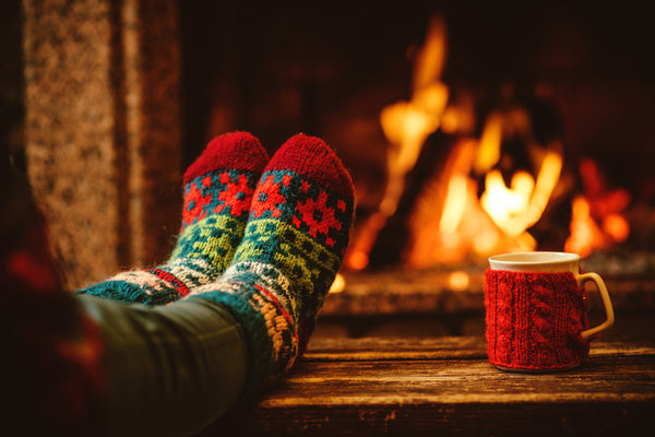 Christmas socks by the fire