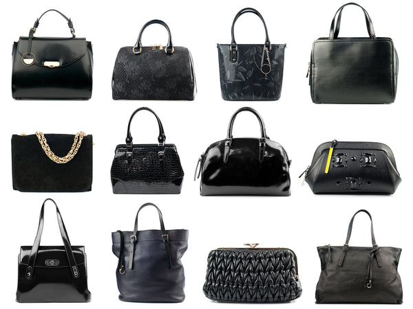 Black handbags collection on white background