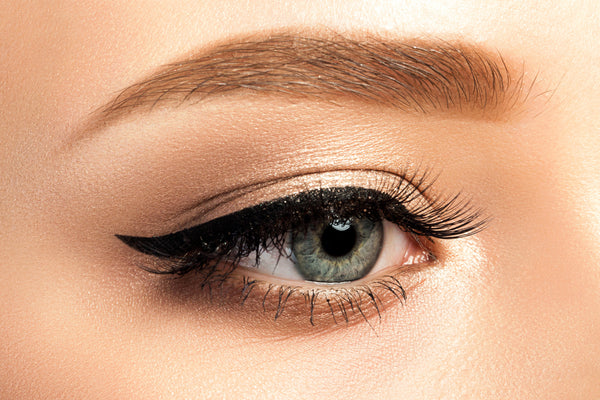 Closeup of a clean winged eyeliner