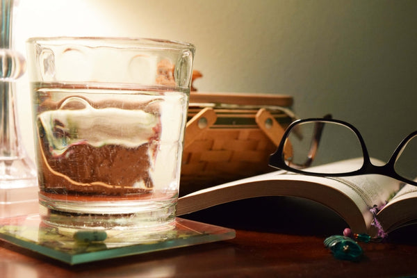 A glass of water by the bedside