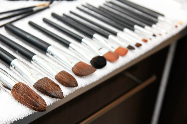 Professional makeup brushes drying