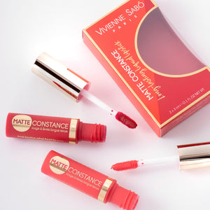 matte lipstick long lasting Matte Constance duo Vivienne Sabo| Shades 33 (coral) & 34 (classic red)