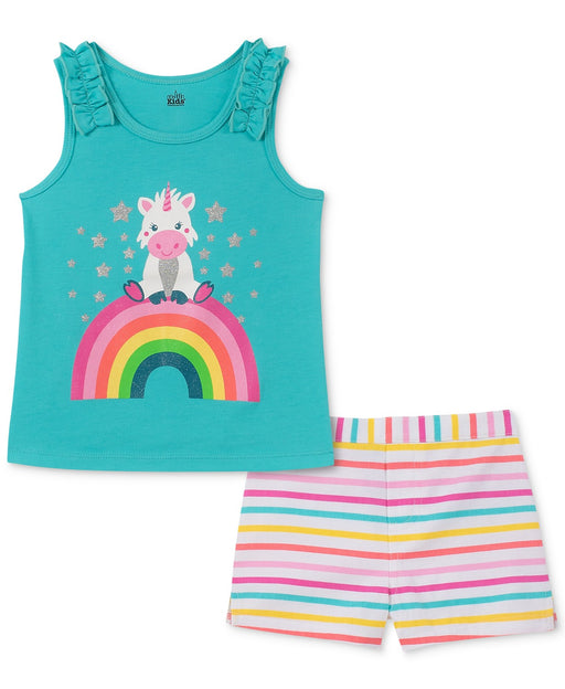 Kids Headquarters 2-pc Little Girls Graphic-print Tank-Top and Shorts Red//White 5