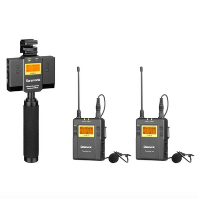 Saramonic UwMic9 SP-RX9+TX9+TX9 UHF inalámbrico, iPhone y Android y manija