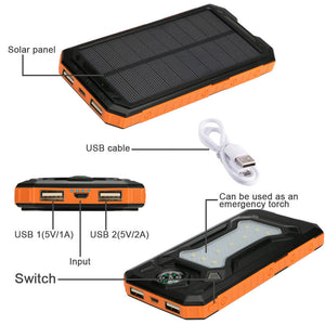 Bateria Power Bank con Cargador  Durable para Emergencias con Panel Solar Viajero