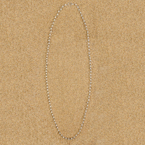 Caldwell 6mm Lava Long Silver Beaded Necklace