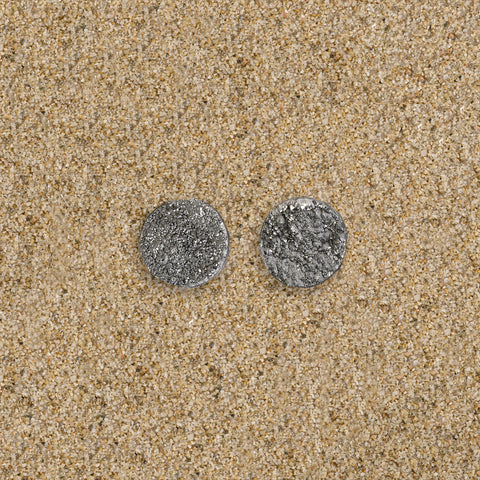 Highlands Silver Large Druzy Circle Stud Earrings