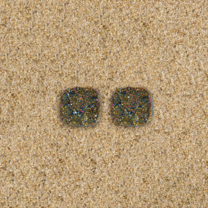 Highlands Iridescent Dark Grey Square Studs
