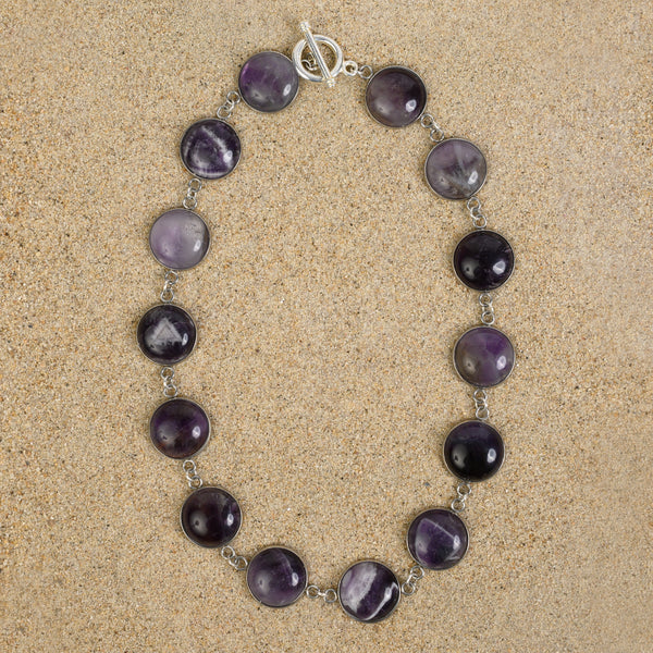 Princeton Dome Large Station Semi-Precious Cabochon Toggle Necklace