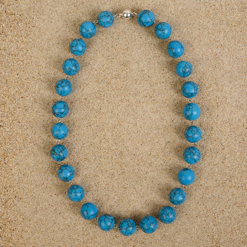 Windsor 16mm Deep Blue Turquoise Howlite Beaded Chain Necklace