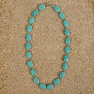 Windsor Turquoise Howlite  Oval Chain Necklace