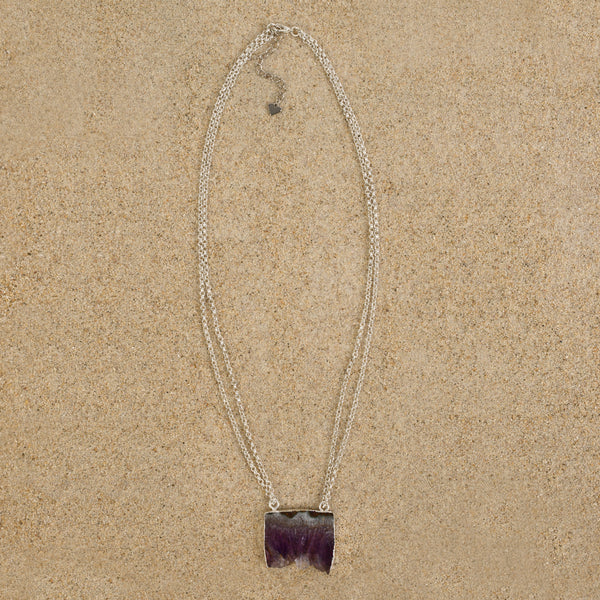 Windsor Amethyst Druzy Slice Geode Necklace