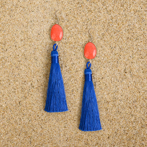 Pennington Coral Blue Tassel Dangle Earrings