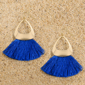 Pennington Gold Triangle Blue Tassel Dangle Earrings