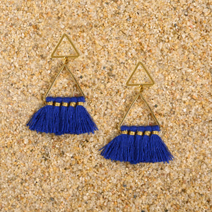 Pennington Double Triangle Gold Tassel Earrings