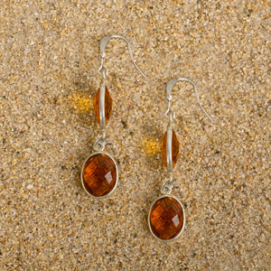 Windsor Smoky Quartz Teardrop Oval Earrings