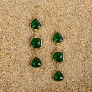 Windsor Emerald Quartz Square/Triangle Triad Dangle Earrings