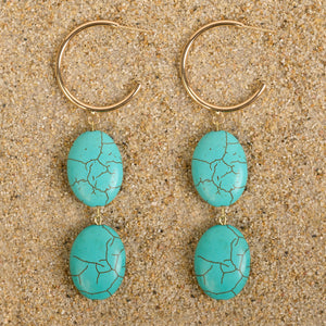 Windsor Vermeil Hoops with Double Howlite Oval Dangle Earrings