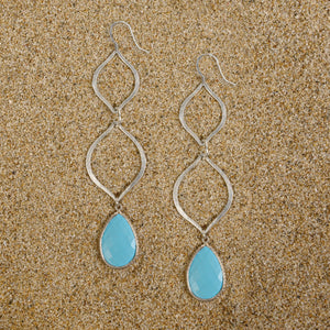 Windsor Matte Silver Double Arabesque Turquoise Teardrop Earrings