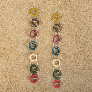 Highlands Long Rainbow Wood Chain Earrings