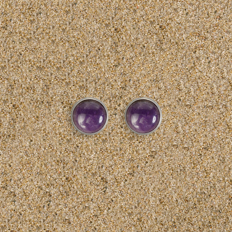 Princeton 12mm Semi-Precious Cabochon Stud Earrings