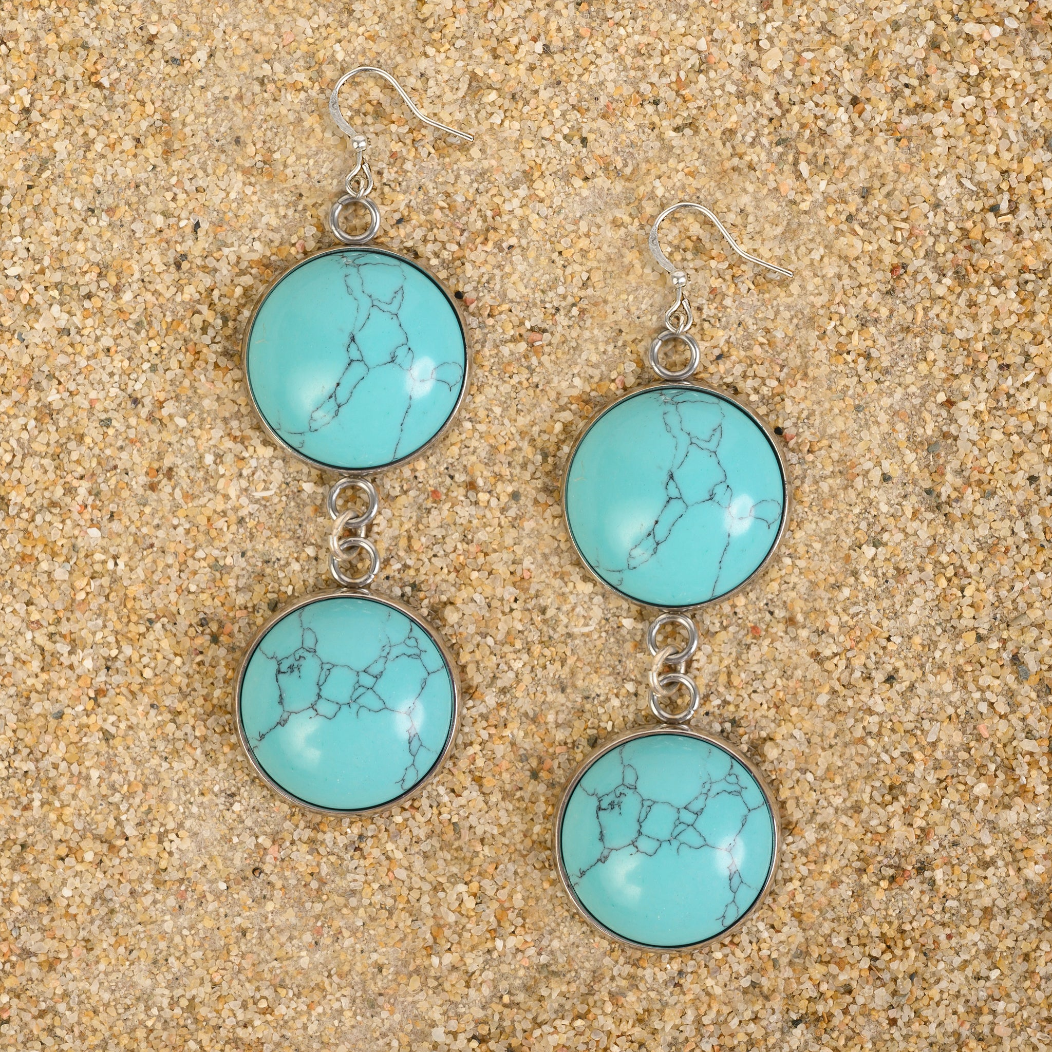 Princeton Double Dome Semi-Precious Gemstone Dangle Cabochon Earrings