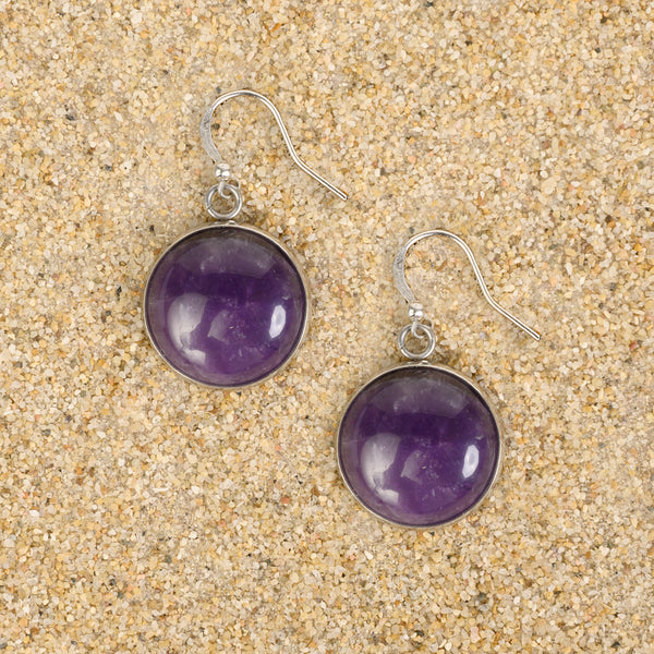 Princeton Dome Dangle Semi-Precious Gemstone Cabochon Earrings