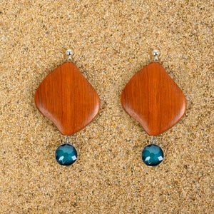Rumson Wood & Blue Agate Dangle Earrings