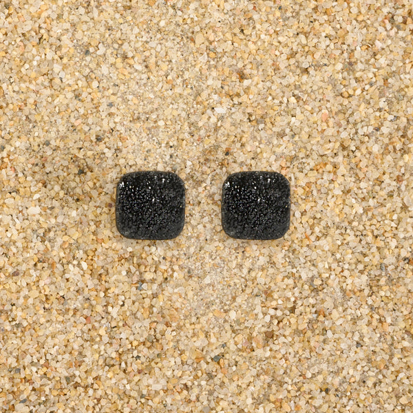 Highlands Black Square Druzy Studs Earrings