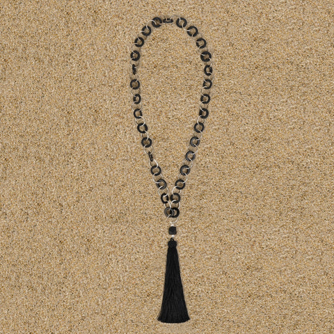 Highlands Black Wood Chain with Black Tassel Necklace