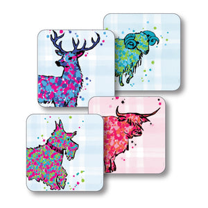 Mixed Animals Tartan Coasters set 4 (SICO41SET)
