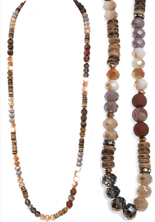 Crystal + Wooden Beaded Necklace