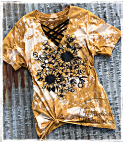 Sunflower Distressed Tee with Cutout