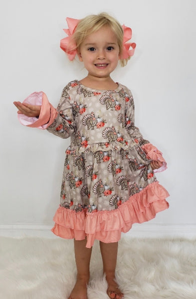 Little Girl's Floral Turkey Dress