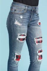 Judy Blue Buffalo Plaid Patchwork Jeans