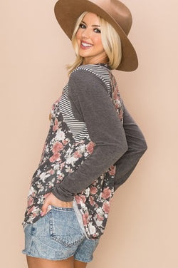 Floral + Stripes Sweater