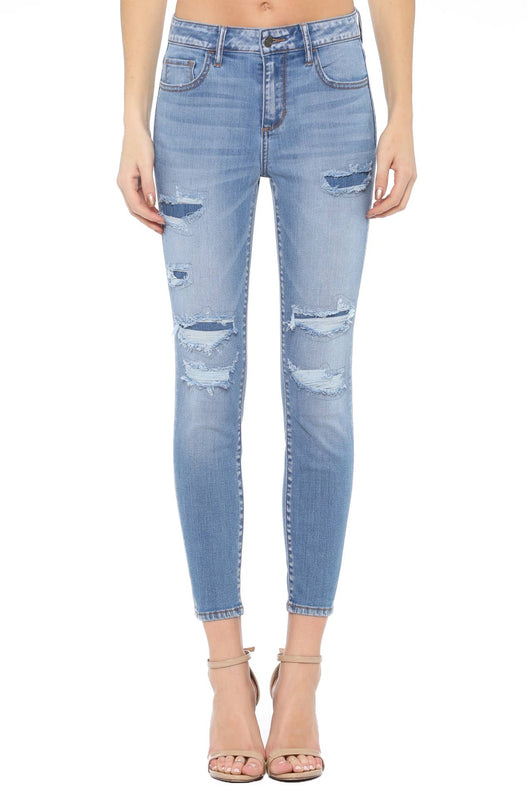 Light Wash Patchwork Skinny Jean