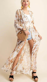 Floral Chiffon Buttermilk Duster