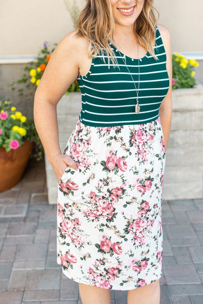 Floral + Stripes Tank Dress