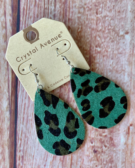 Wild About You Turquoise Leopard Earrings