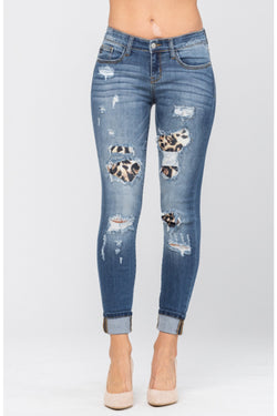 Judy Blue Leopard Patchwork Jeans