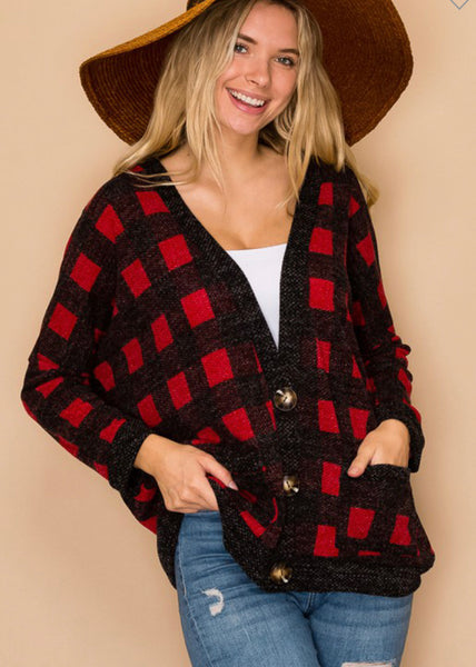 Buffalo Plaid Oversized Cardigan