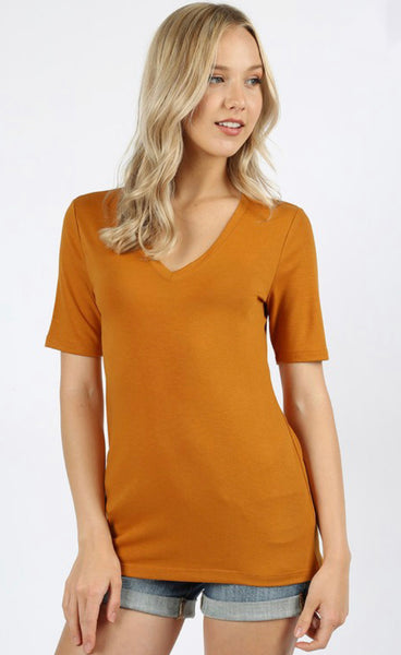 Short Sleeve V-Neck Basic Tee
