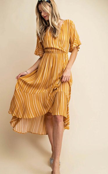 Hi Low Striped Ruffle Dress