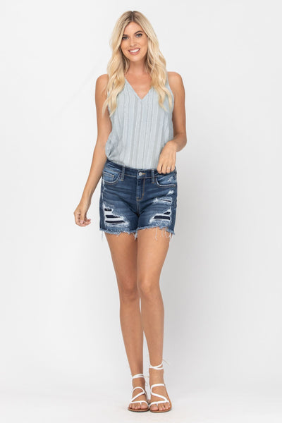 Judy Blue Distressed Patchwork Shorts