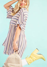 Striped Raw Edge Top with Frill Details
