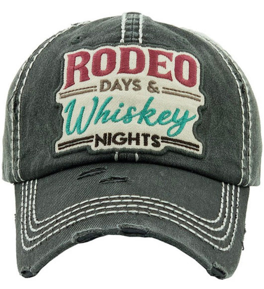 Rodeo Days & Whiskey Nights Distressed Hat