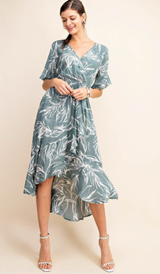 Sage Printed Hi Low Wrap Dress
